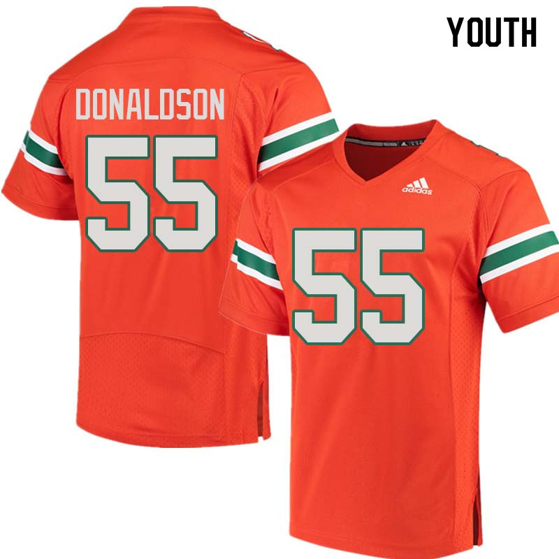 Youth Miami Hurricanes #55 Navaughn Donaldson College Football Jerseys Sale-Orange